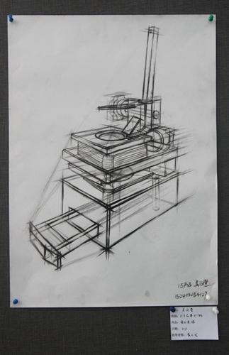 产品一班吴汶萱同学的结构素描作品,通过准确的透视使物体的内部